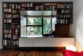 Библиотека bib35654 по индивидуальным размерам на заказ, материалы из дсп лдсп расцветка — коричневый белый в интернет магазине mebelblok.ru