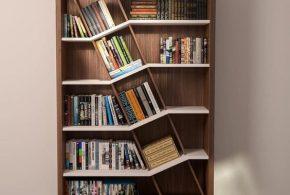 Библиотека bib89712 по индивидуальным размерам на заказ, материалы из лдсп мдф расцветка — коричневый бежевый в интернет магазине mebelblok.ru