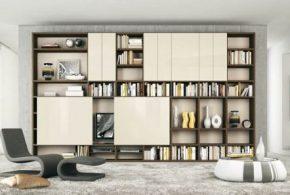 Библиотека bib43998 по индивидуальным размерам на заказ, материалы из лдсп мдф расцветка — коричневый бежевый в интернет магазине mebelblok.ru