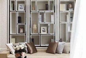 Библиотека bib74452 по индивидуальным размерам на заказ, материалы из лдсп мдф стекла расцветка — белый серый в интернет магазине mebelblok.ru