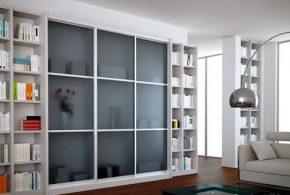 Библиотека bib39049 по индивидуальным размерам на заказ, материалы из лдсп мдф стекла расцветка — белый серый в интернет магазине mebelblok.ru