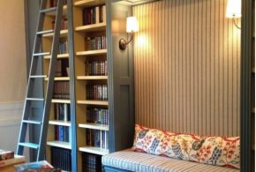 Библиотека bib31559 по индивидуальным размерам на заказ, материалы из дерева лдсп мдф расцветка — синий белый в интернет магазине mebelblok.ru