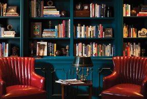 Библиотека bib75524 по индивидуальным размерам на заказ, материалы из дерева лдсп мдф расцветка — синий в интернет магазине mebelblok.ru