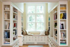 Библиотека bib35043 по индивидуальным размерам на заказ, материалы из лдсп мдф расцветка — бежевый белый серый в интернет магазине mebelblok.ru
