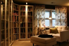 Библиотека bib33561 по индивидуальным размерам на заказ, материалы из лдсп мдф стекла расцветка — бежевый в интернет магазине mebelblok.ru