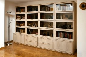 Библиотека bib92021 по индивидуальным размерам на заказ, материалы из лдсп мдф стекла расцветка — бежевый в интернет магазине mebelblok.ru
