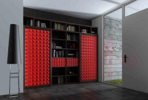 Библиотека bib97440 по индивидуальным размерам на заказ, материалы из лдсп мдф расцветка — красный черный в интернет магазине mebelblok.ru