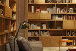 Библиотека bib94928 по индивидуальным размерам на заказ, материалы из дерева лдсп мдф расцветка — коричневый в интернет магазине mebelblok.ru