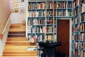 Библиотека bib87786 по индивидуальным размерам на заказ, материалы из лдсп мдф расцветка — синий в интернет магазине mebelblok.ru