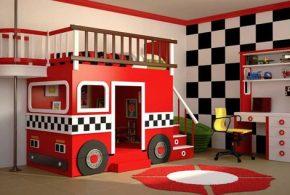 Детская в виде машинки det76448по индивидуальным размерам на заказ, материалы из лдсп мдф расцветка — красный белый черный интернет магазине mebelblok.ru