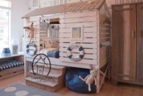 Детская в виде домика det15241 по индивидуальным размерам на заказ, материалы из массива дерева лдсп мдф расцветка — бежевый белый интернет магазине mebelblok.ru