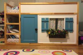 Детская в виде домика det42732по индивидуальным размерам на заказ, материалы из лдсп мдф расцветка — синий коричневый белый интернет магазине mebelblok.ru
