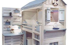 Детская в виде домика det78749по индивидуальным размерам на заказ, материалы из лдсп мдф расцветка — голубой белый интернет магазине mebelblok.ru