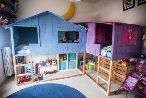 Детская в виде домика det39138по индивидуальным размерам на заказ, материалы из лдсп мдф расцветка — синий фиолетовый бежевый интернет магазине mebelblok.ru