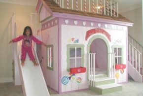 Детская в виде домика det57160по индивидуальным размерам на заказ, материалы дсп расцветка — салатовый разноцвет белый розовый интернет магазине mebelblok.ru