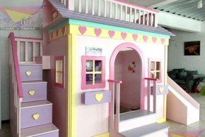 Детская в виде домика det67313 по индивидуальным размерам на заказ, материалы из лдсп мдф расцветка — жёлтый фиолетовый разноцвет розовый интернет магазине mebelblok.ru