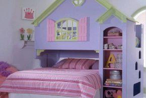 Детская в виде домика det45042по индивидуальным размерам на заказ, материалы из лдсп мдф расцветка — фиолетовый салатовый разноцвет розовый интернет магазине mebelblok.ru