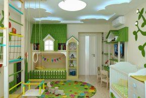 Детская в виде домика det39382по индивидуальным размерам на заказ, материалы из лдсп мдф расцветка — зелёный разноцвет бежевый белый интернет магазине mebelblok.ru