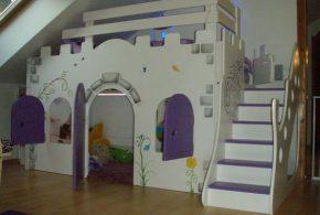 Детская в виде замка det70901по индивидуальным размерам на заказ, материалы из лдсп мдф расцветка — жёлтый фиолетовый разноцвет серый интернет магазине mebelblok.ru