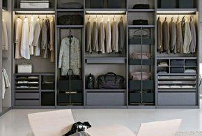 Гардеробная gar97408по индивидуальным размерам на заказ, материалы из лдсп мдф расцветка — серый в интернет магазине mebelblok.ru
