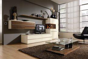 Гостинная gos89359по индивидуальным размерам на заказ, материалы из лдсп мдф расцветка — коричневый бежевый в интернет магазине mebelblok.ru