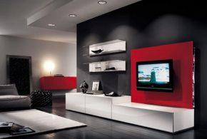 Гостинная gos90478по индивидуальным размерам на заказ, материалы из лдсп мдф расцветка — красный белый в интернет магазине mebelblok.ru