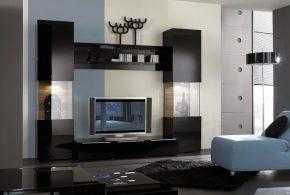 Гостинная gos64357по индивидуальным размерам на заказ, материалы из лдсп мдф стекла расцветка — черный в интернет магазине mebelblok.ru