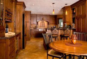 С барной стойкой кухня по индивидуальным размерам на заказ фасады из дерева лдсп мдф стекла фасад пленки kuh74802