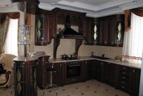 С барной стойкой кухня по индивидуальным размерам на заказ фасады из дерева лдсп мдф стекла фасад пленки kuh80714