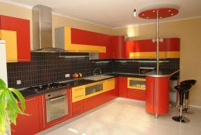 С барной стойкой кухня по индивидуальным размерам на заказ фасады из лдсп мдф стекла эмали фасад пленки kuh94108