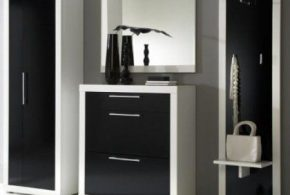 Прихожая pri47572по индивидуальным размерам на заказ, материалы из дсп эмали расцветка — черно-белый белый черный в интернет магазине mebelblok.ru