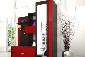 Прихожая pri52609по индивидуальным размерам на заказ, материалы из лдсп мдф расцветка — красный черный в интернет магазине mebelblok.ru