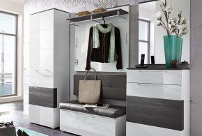 Прихожая pri15500по индивидуальным размерам на заказ, материалы из лдсп мдф расцветка — белый серый в интернет магазине mebelblok.ru