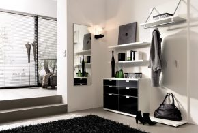 Прихожая pri81455 по индивидуальным размерам на заказ, материалы из лдсп мдф расцветка — черно-белый белый черный в интернет магазине mebelblok.ru