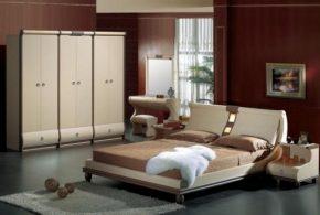 Спальня spa17726по индивидуальным размерам на заказ, материалы из лдсп мдф расцветка — коричневый бежевый в интернет магазине mebelblok.ru