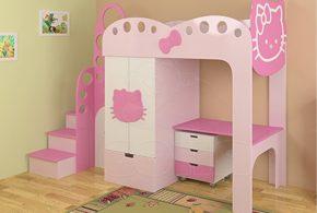 Детская функциональная det59237 по индивидуальным размерам на заказ, материалы из лдсп мдф расцветка — белый розовый в интернет магазине mebelblok.ru