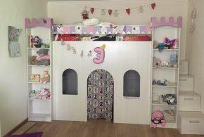 Детская в виде замка det12620 по индивидуальным размерам на заказ, материалы из лдсп мдф расцветка — белый розовый интернет магазине mebelblok.ru
