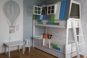 Детская в виде домика det59526 по индивидуальным размерам на заказ, материалы из лдсп мдф расцветка — зелёный голубой разноцвет белый серый интернет магазине mebelblok.ru