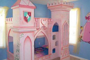 Детская в виде замка det26826 по индивидуальным размерам на заказ, материалы из лдсп мдф расцветка — разноцвет розовый интернет магазине mebelblok.ru