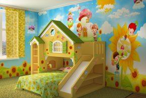 Детская в виде домика det71349 по индивидуальным размерам на заказ, материалы из лдсп мдф расцветка — жёлтый зелёный разноцвет интернет магазине mebelblok.ru
