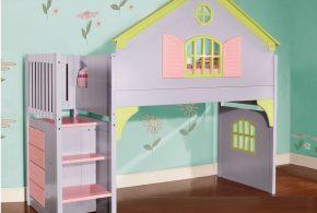 Детская в виде домика det78514 по индивидуальным размерам на заказ, материалы из лдсп мдф расцветка — фиолетовый салатовый разноцвет розовый интернет магазине mebelblok.ru