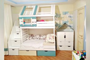 Детская в виде домика det48973 по индивидуальным размерам на заказ, материалы из лдсп мдф расцветка — голубой разноцвет бежевый белый интернет магазине mebelblok.ru