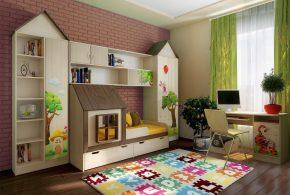 Детская в виде домика det93021 по индивидуальным размерам на заказ, материалы из лдсп мдф расцветка — разноцвет коричневый бежевый интернет магазине mebelblok.ru