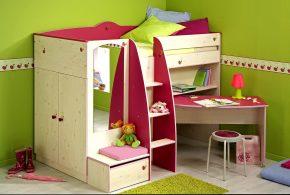 Детская функциональная det75166 по индивидуальным размерам на заказ, материалы из лдсп мдф расцветка — бежевый розовый в интернет магазине mebelblok.ru