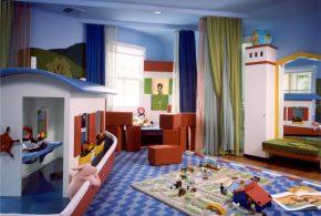 Детская в виде корабля det40807 по индивидуальным размерам на заказ, материалы из лдсп мдф расцветка — красный синий разноцвет белый интернет магазине mebelblok.ru