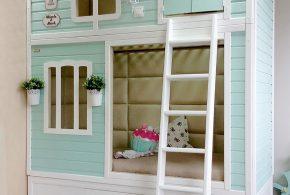 Детская в виде домика det57796 по индивидуальным размерам на заказ, материалы из лдсп мдф расцветка — голубой белый интернет магазине mebelblok.ru