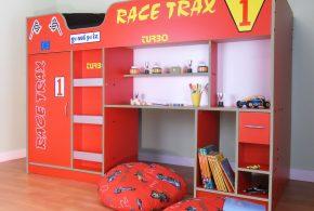 Детская функциональная det83275 по индивидуальным размерам на заказ, материалы из лдсп мдф расцветка — красный серый в интернет магазине mebelblok.ru