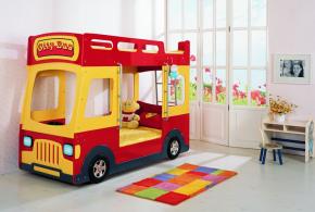 Детская в виде автобуса det58156 по индивидуальным размерам на заказ, материалы из лдсп мдф расцветка — красный жёлтый разноцвет белый интернет магазине mebelblok.ru