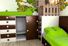 Детская в виде домика det37764 по индивидуальным размерам на заказ, материалы из лдсп мдф расцветка — коричневый белый интернет магазине mebelblok.ru