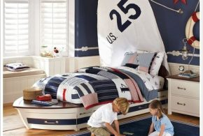 Детская в виде корабля det15158 по индивидуальным размерам на заказ, материалы из лдсп мдф расцветка — красный синий разноцвет белый интернет магазине mebelblok.ru
